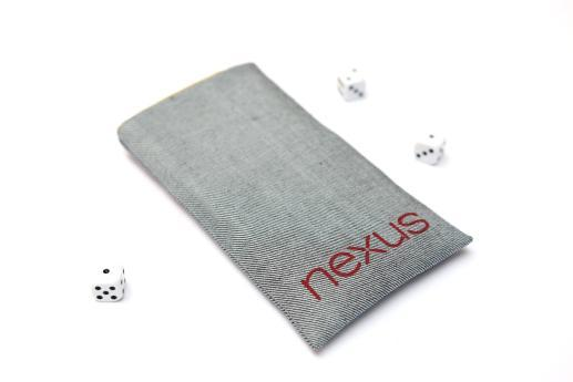 Motorola Nexus 6 sleeve case pouch light denim red Nexus logo