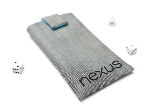 Motorola Nexus 6 sleeve case pouch light denim magnetic closure black Nexus logo