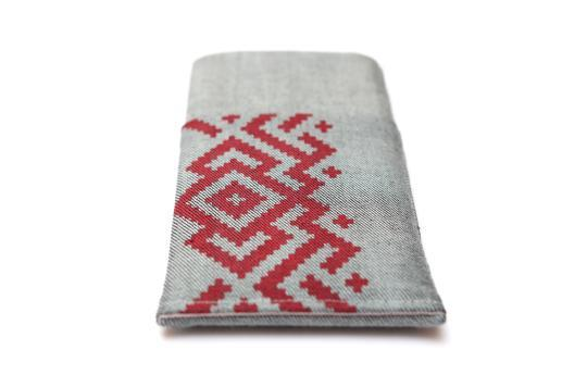 HTC One M7 sleeve case pouch light denim pocket red ornament