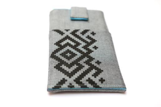 HTC One M9 sleeve case pouch light denim magnetic closure pocket black ornament