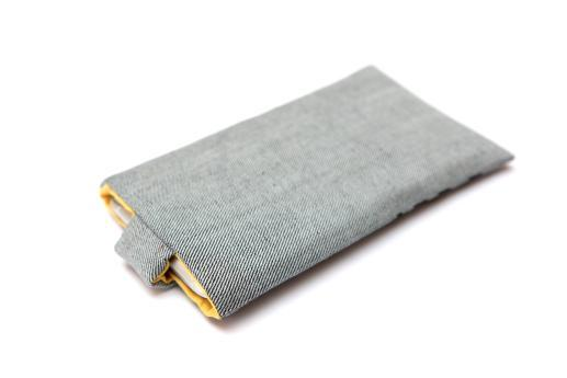 HTC One M8 sleeve case pouch light denim magnetic closure black ornament