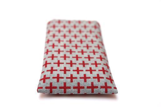 OnePlus 5 sleeve case pouch light denim red plus pattern