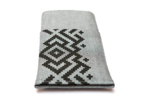 Apple iPhone X sleeve case pouch light denim pocket black ornament