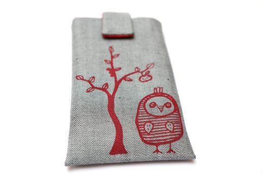 Apple iPhone X sleeve case pouch light denim magnetic closure red owl