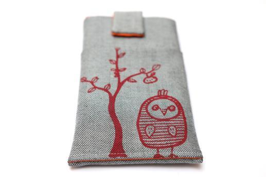 HTC One M9 sleeve case pouch light denim magnetic closure pocket red owl