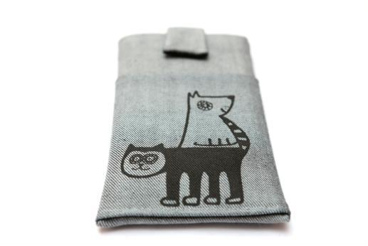 HTC One M9 sleeve case pouch light denim magnetic closure pocket black cat and dog