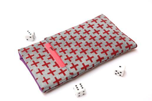 OnePlus 5T sleeve case pouch light denim pocket red plus pattern