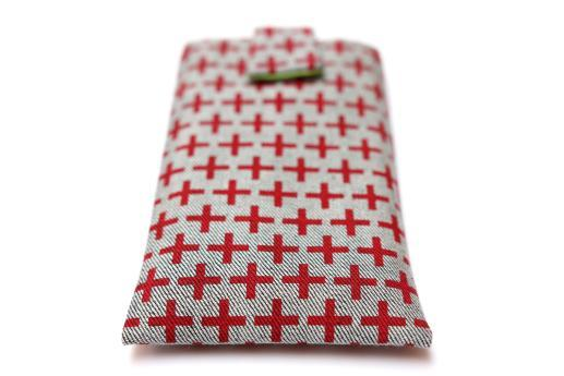 OnePlus 5T sleeve case pouch light denim magnetic closure red plus pattern