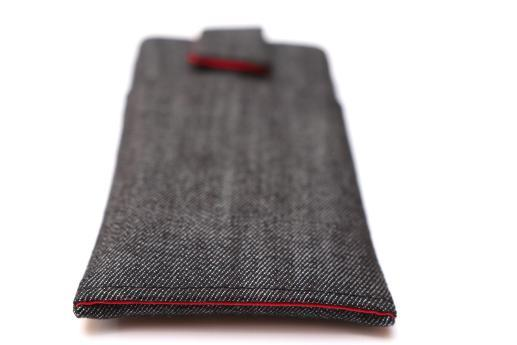 OnePlus 6 sleeve case pouch dark denim with magnetic closure and pocket