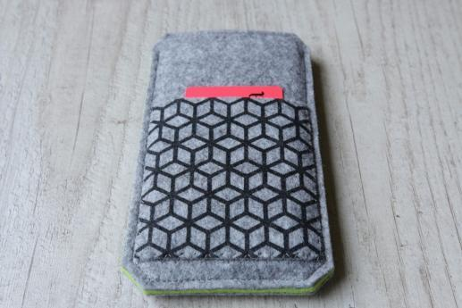 HTC One M9 sleeve case pouch light felt pocket black cube pattern