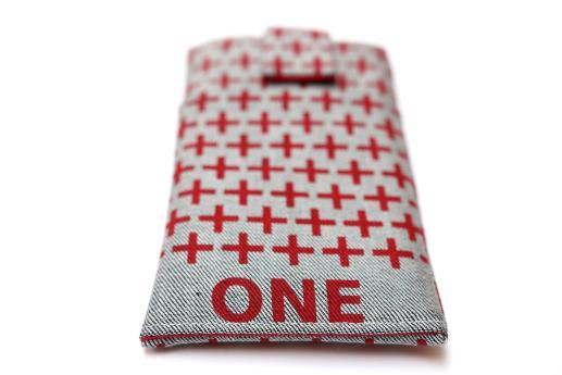 OnePlus 6 sleeve case pouch light denim magnetic closure pocket red one plus pattern
