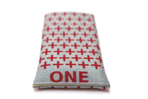 OnePlus 6 sleeve case pouch light denim pocket red one plus pattern