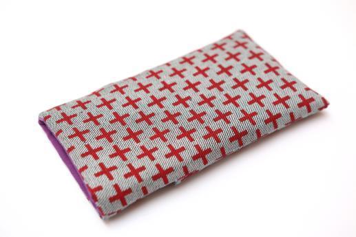 OnePlus 6 sleeve case pouch light denim pocket red plus pattern