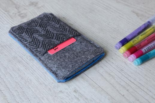 HTC One A9 sleeve case pouch dark felt pocket black arrow pattern