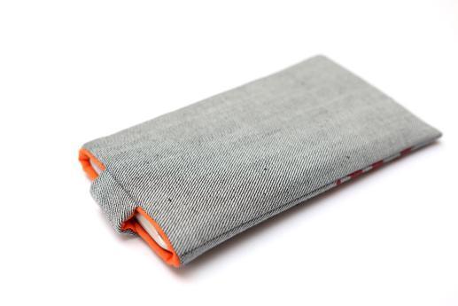 Nokia 6.1 Plus sleeve case pouch light denim magnetic closure red ornament