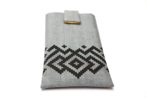Nokia 6.1 Plus sleeve case pouch light denim magnetic closure black ornament