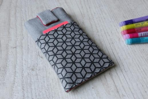 Nokia 6.1 Plus sleeve case pouch light denim magnetic closure pocket black cube pattern