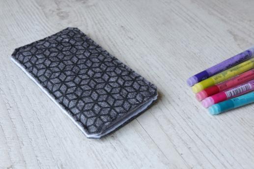 Nokia 6.1 Plus sleeve case pouch dark felt black cube pattern