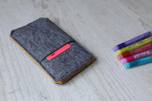 HTC One M8 sleeve case pouch dark felt pocket