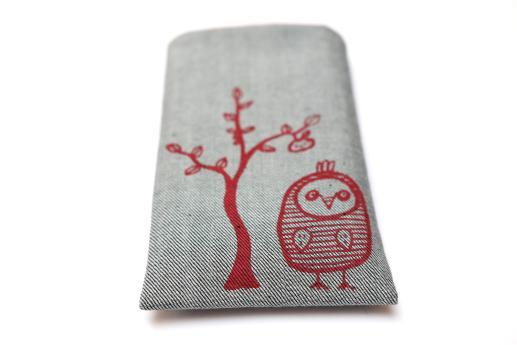 OnePlus 6T sleeve case pouch light denim with red owl
