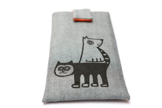 OnePlus 6T sleeve case pouch light denim magnetic closure black cat and dog