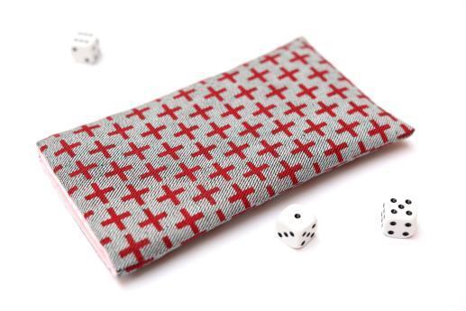OnePlus 6T sleeve case pouch light denim red plus pattern