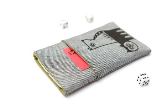 HTC Wildfire X sleeve case pouch light denim pocket black cat and dog