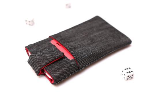 HTC Desire 19+ sleeve case pouch dark denim with magnetic closure and pocket