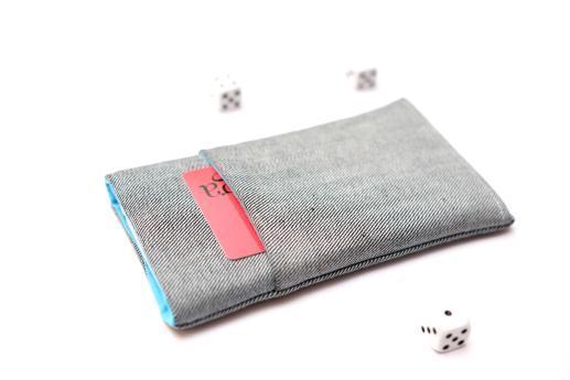 HTC Desire 19+ sleeve case pouch light denim with pocket