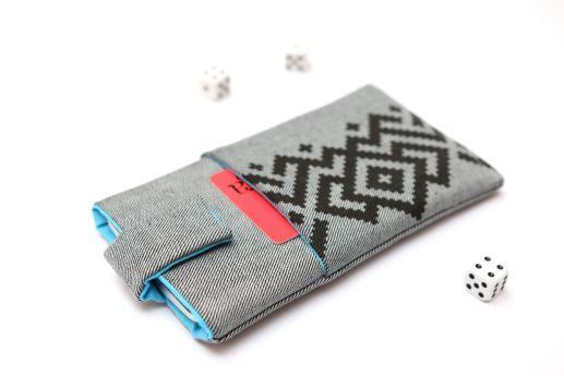 HTC Desire 19+ sleeve case pouch light denim magnetic closure pocket black ornament