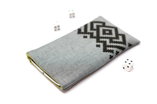 HTC Desire 19+ sleeve case pouch light denim with black ornament
