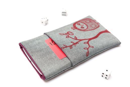 HTC Desire 19+ sleeve case pouch light denim pocket red owl