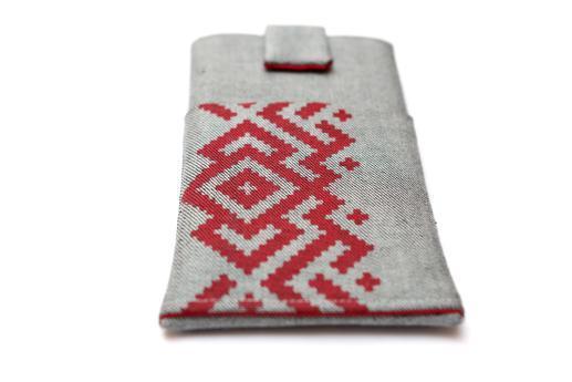HTC Desire 12 sleeve case pouch light denim magnetic closure pocket red ornament