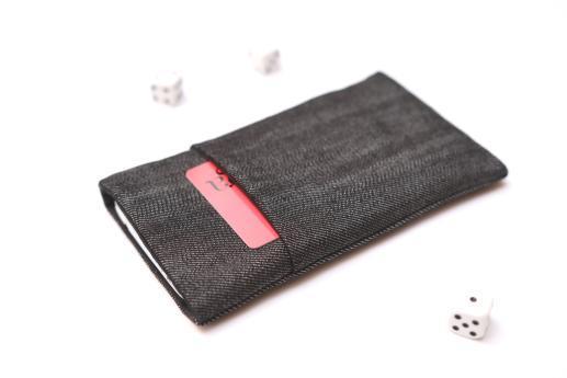 HTC Desire 12+ sleeve case pouch dark denim with pocket