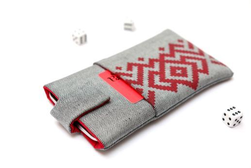 HTC Desire 12+ sleeve case pouch light denim magnetic closure pocket red ornament