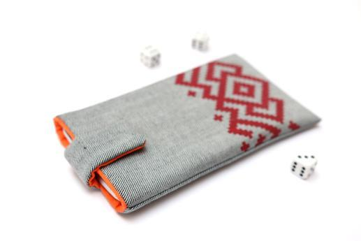 HTC Desire 12+ sleeve case pouch light denim magnetic closure red ornament