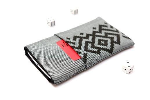 HTC Desire 12+ sleeve case pouch light denim pocket black ornament