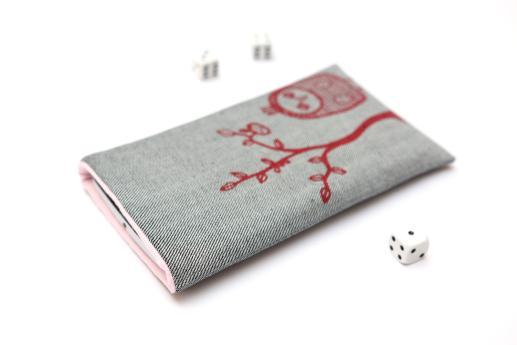 LG Q70 sleeve case pouch light denim with red owl