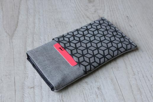 LG Q8 sleeve case pouch light denim pocket black cube pattern