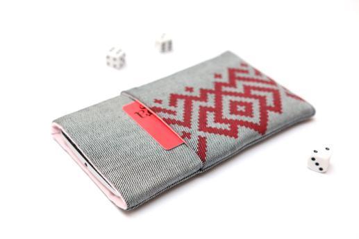 Motorola One Vision sleeve case pouch light denim pocket red ornament