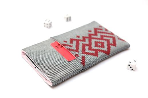 Motorola One Macro sleeve case pouch light denim pocket red ornament