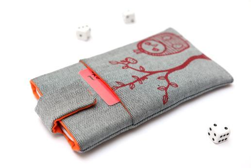 Motorola One Macro sleeve case pouch light denim magnetic closure pocket red owl