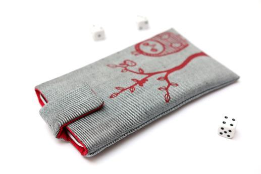 Motorola One Macro sleeve case pouch light denim magnetic closure red owl