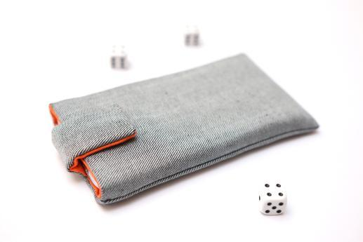 Motorola Moto G7 sleeve case pouch light denim with magnetic closure