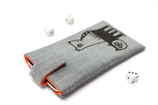 Motorola Moto G7 sleeve case pouch light denim magnetic closure black cat and dog