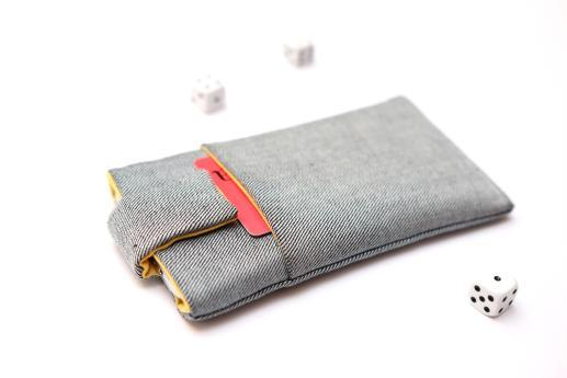 Motorola Moto E6 Plus sleeve case pouch light denim with magnetic closure and pocket