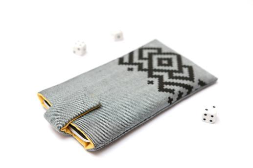 Motorola Moto E5 sleeve case pouch light denim magnetic closure black ornament