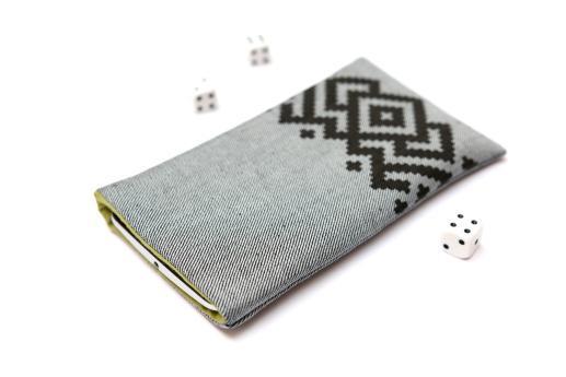 Motorola Moto G6 Play sleeve case pouch light denim with black ornament